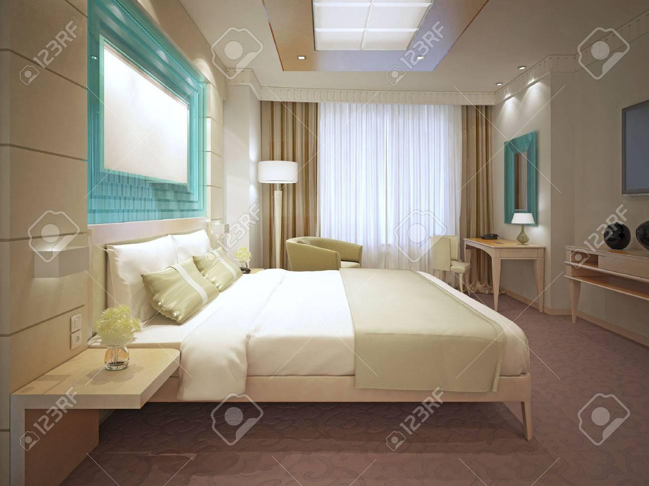 banque dimages elgant tendance chambre principale grand systme de stockage panneled derrire lit plafond suspendu 3d render - Lit Plafond