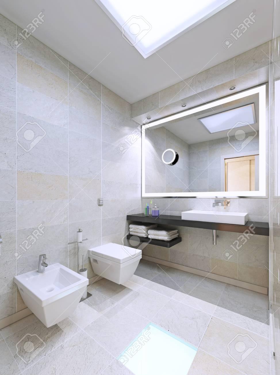 Cuarto de baño en el diseño minimalista. El uso de grandes lámparas de  interior moderno. 3D rinden