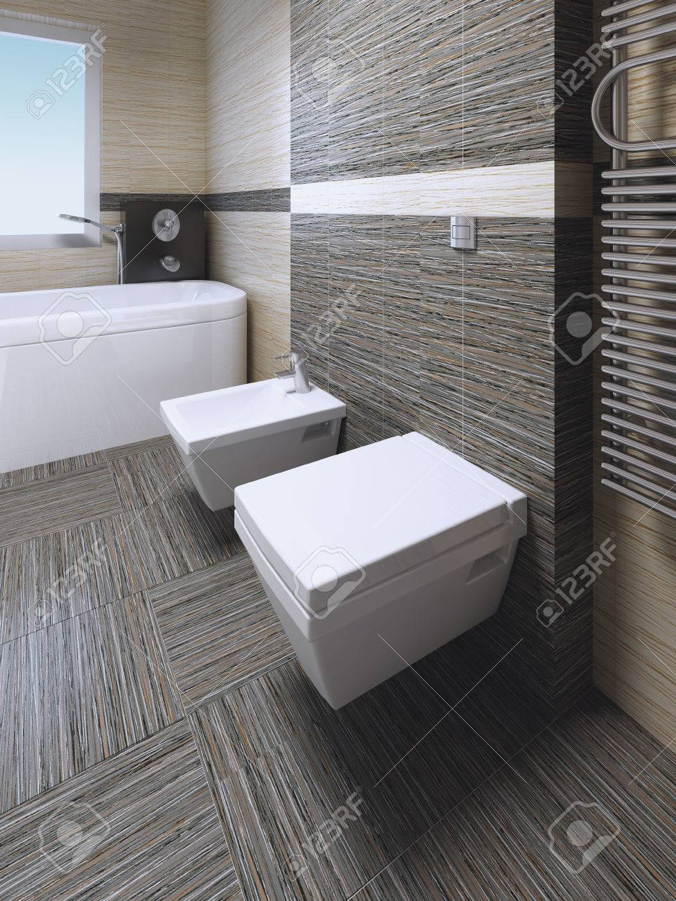 Toilet And Bidet In Modern Bathroom With Zebrano Striped Ceramic Tile. 3D  Render Stock Photo