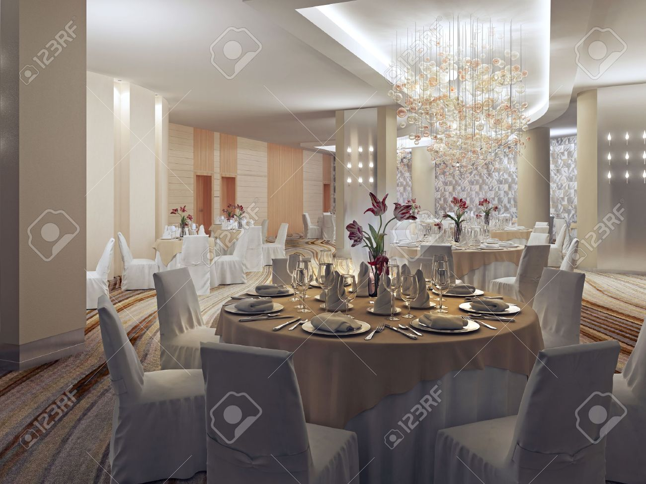 Ballroom, Banquet Hall In Restaurant In Art Deco Style. Fashionable ...