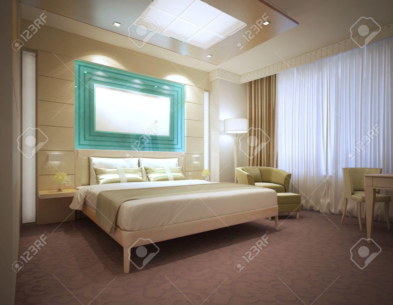 Di Lusso Camera D'albergo Moderno Con Colori Chiari. Grande ...