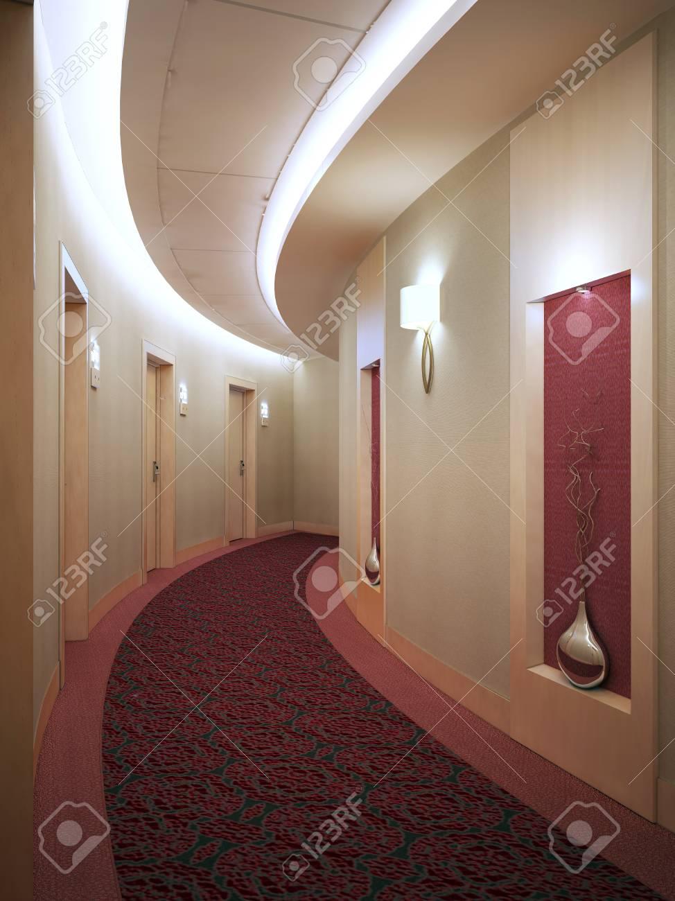 Round Couloir De L\'hôtel De Style Art Déco. Flottant Plafond ...