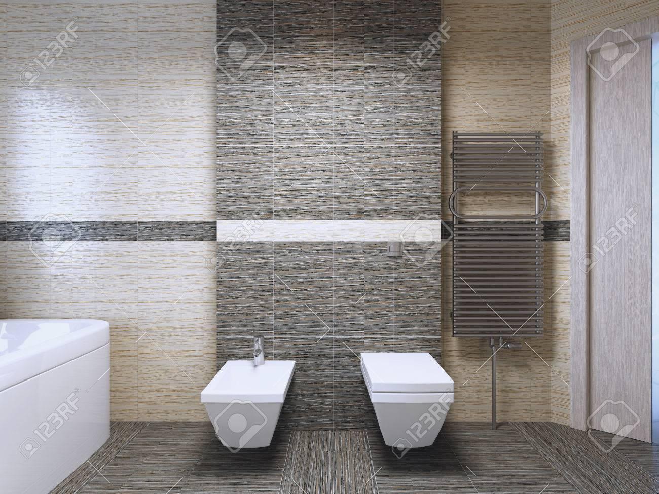 Badezimmer Mit Zebrano Fliesen Trend. 3D übertragen Standard Bild   50513914