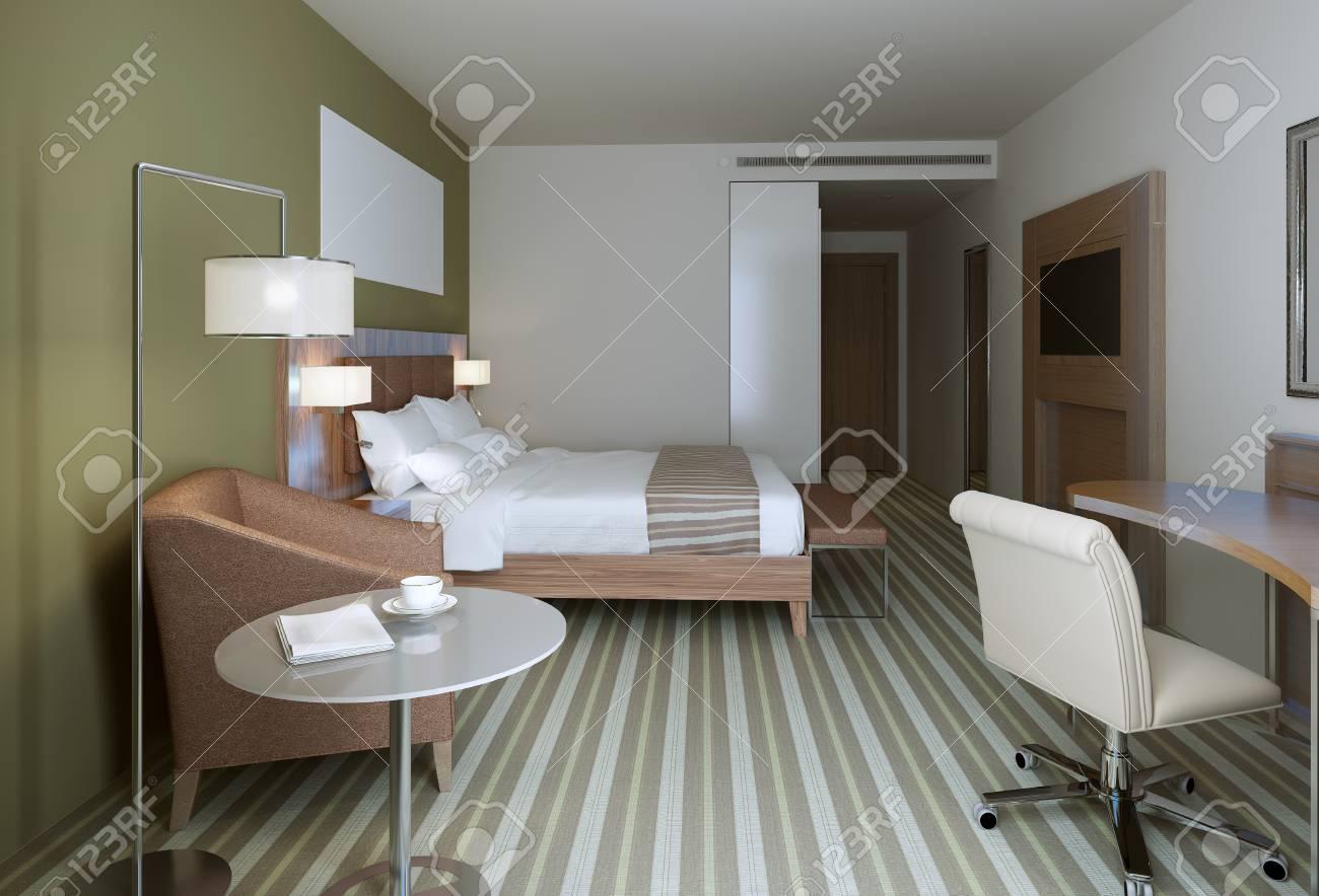 El Dormitorio Principal Con Un Estilo Contemporáneo. Muebles De ...