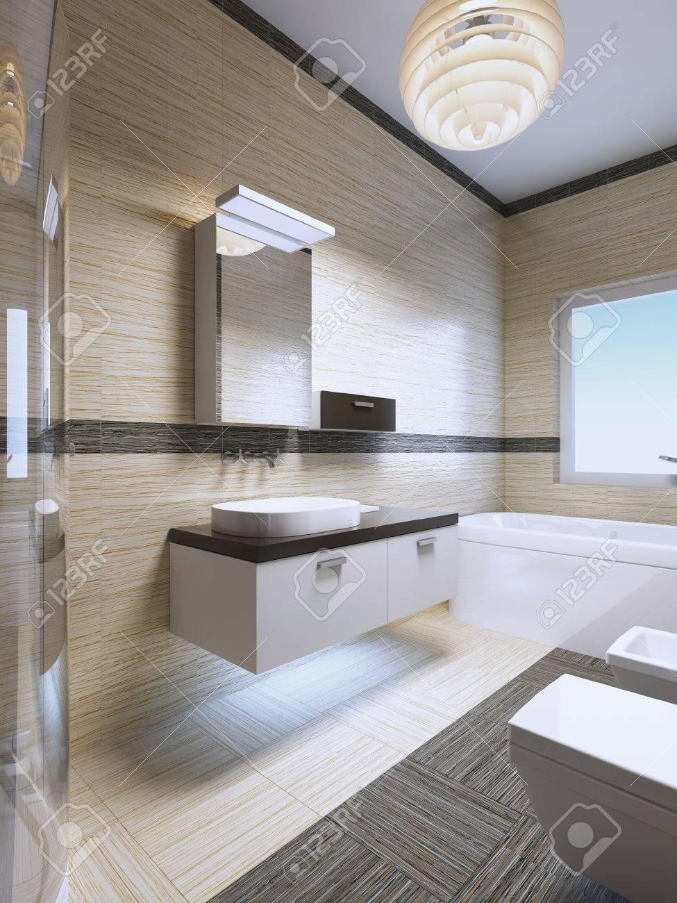 Badezimmer Möbel Ideen. Hängende Möbel In Der Farbe Weiß Mit Schwarzen  Verzierungen.