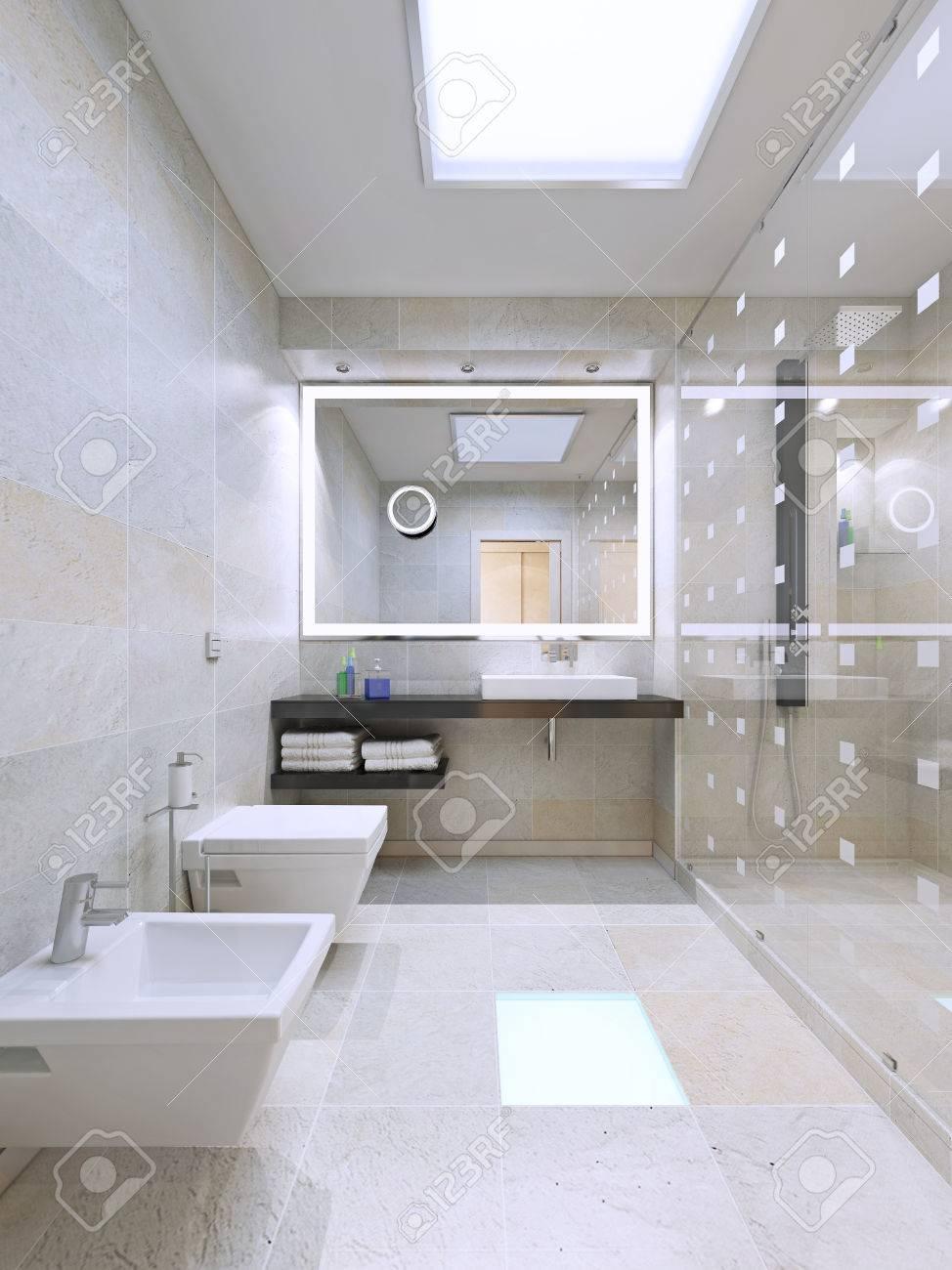 Großes Badezimmer Mit Dusche. 3D übertragen Lizenzfreie Fotos ...
