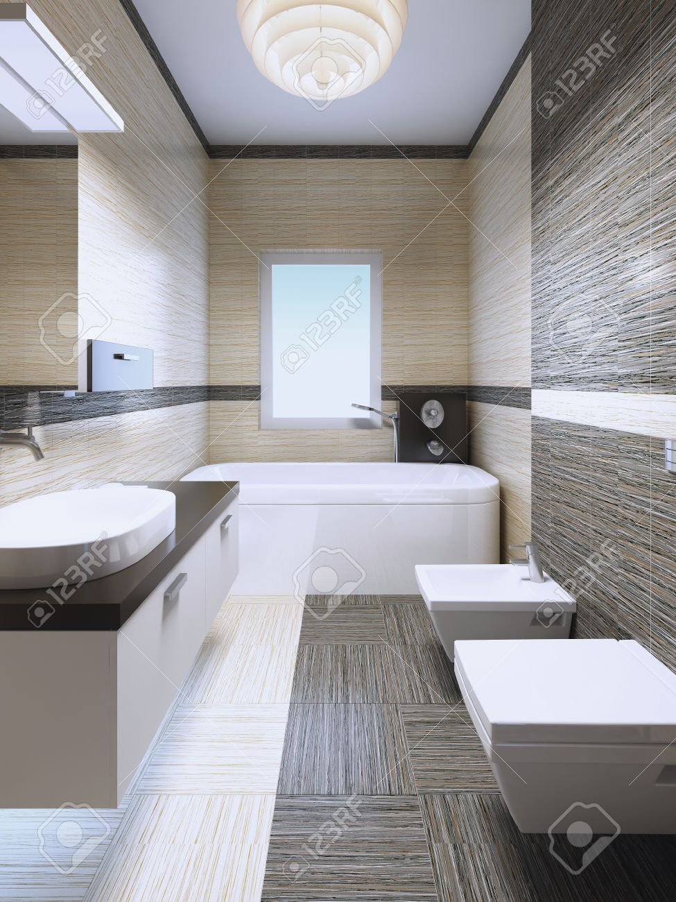 elegante bagno in casa privata con finestra. piastrelle misto di ... - Colori Piastrelle Bagno