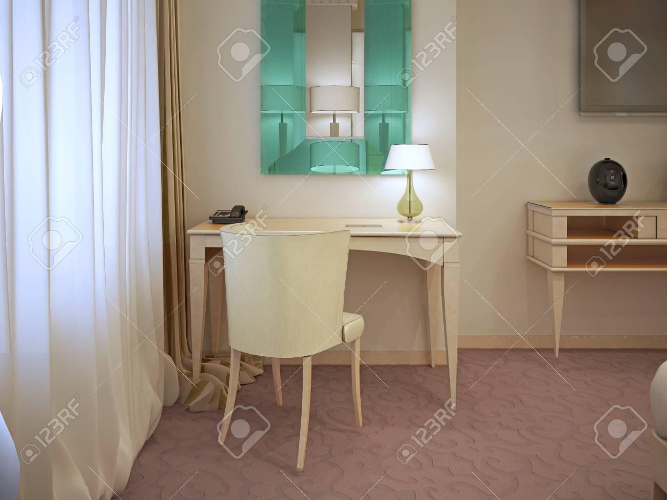 Grote Foto Aan De Muur.Creme Kaptafel Met Grote Muur Spiegel Tuqruoise Kleur In Het Moderne Interieur Horizontaal 3d Render