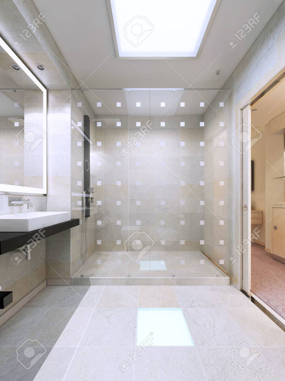 Shower With Glass Partition In Bright White Bathroom. Simple.. Stock ...