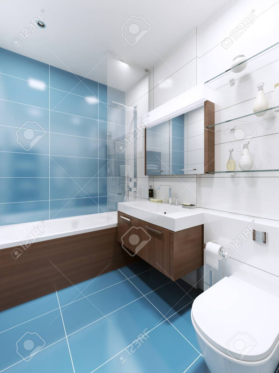 Blau Badezimmer Interieur In Privaten Haus. High-Tech-Design. 3D ...