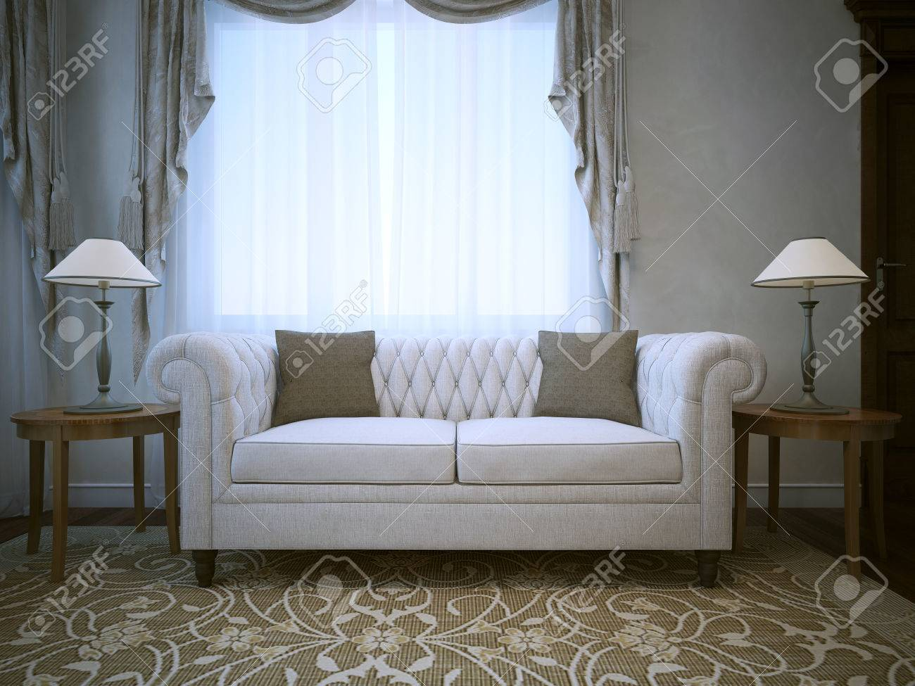 Excellent White Linen Cotton Sofa With Lamps On Tables Both Sides 3D Machost Co Dining Chair Design Ideas Machostcouk