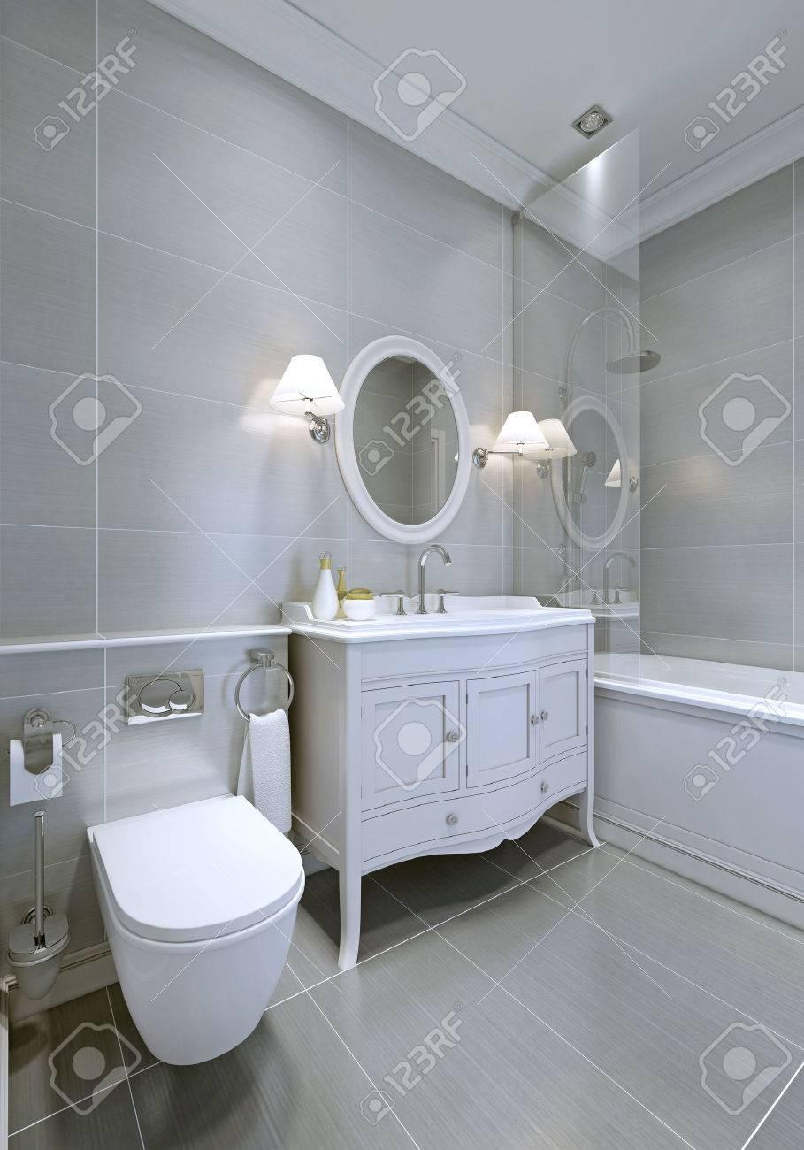 Klassische Badezimmer In Grauer Farbe. Weiße Möbel. 3D übertragen ...