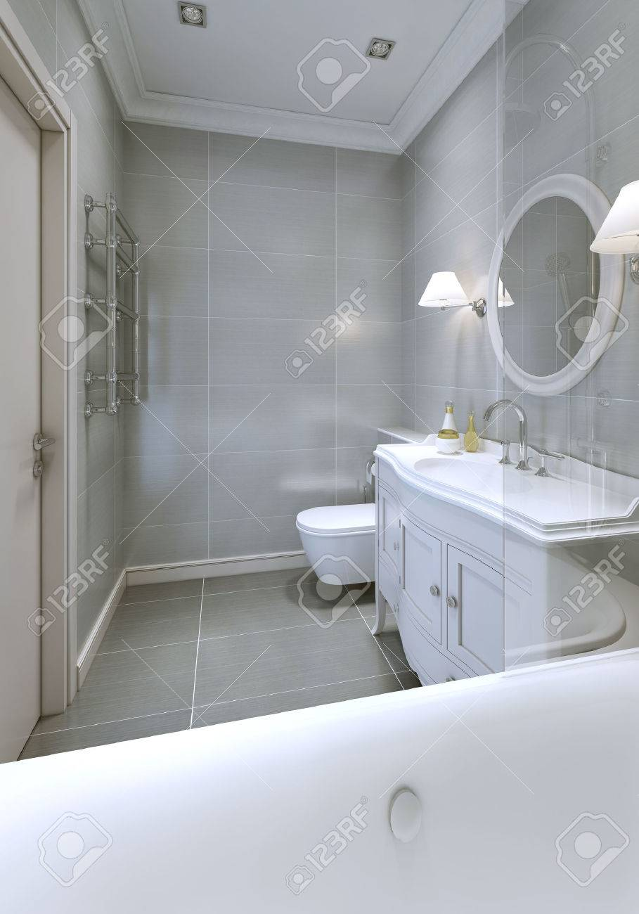 Bathroom Art Deco Style With Grey Ceramic Tile On Floor And Walls