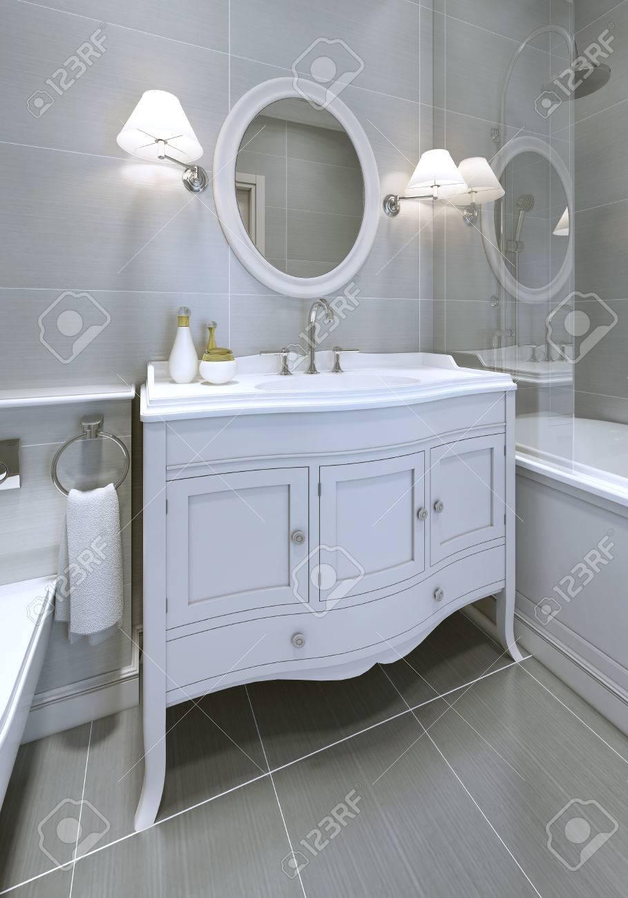 Blanc style Art déco, console de lavabo dans une salle de bains. Miroir  rond avec appliques sur les deux côtés. 3D render