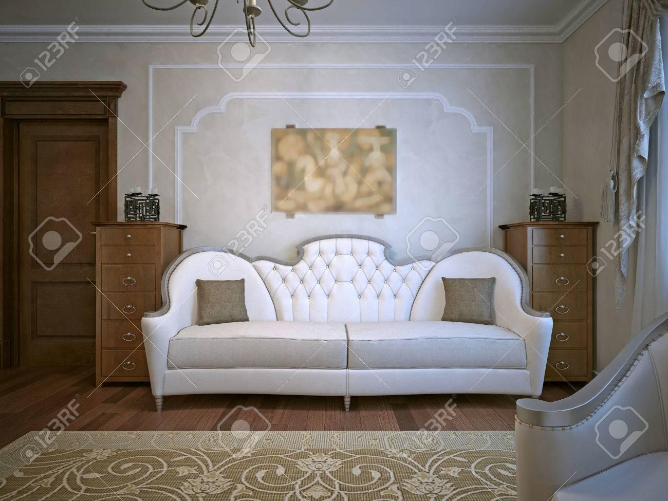 Wohnzimmer Mit Eichenmöbeln. Beige Tapeten 3D übertragen Lizenzfreie ...