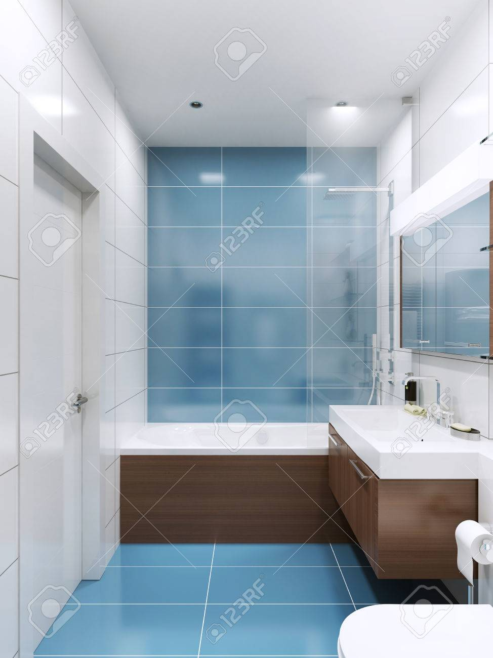 Blue And White Bathroom With Brown Wooden Futnirute In Contemporary ...