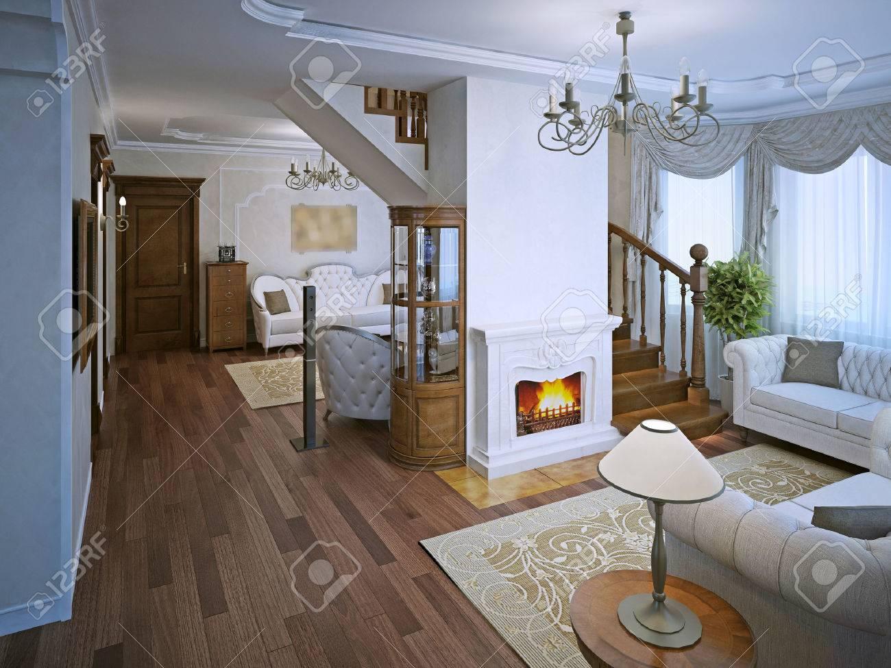 Lounge Dans Le Style Art Deco Avec Cheminee Parquet Flooting Et