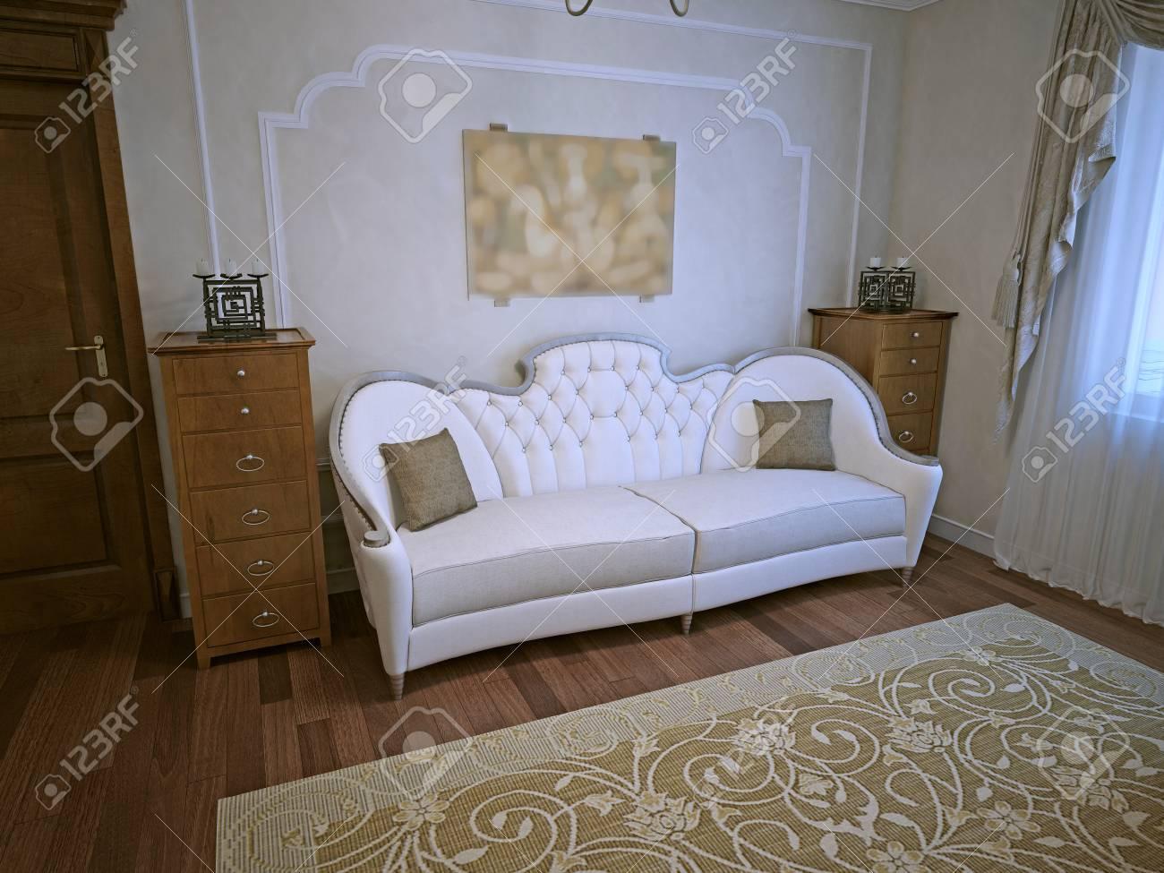 Soggiorno In Stile Art Déco. Elegante Divano Bianco Con Cassettiera ...