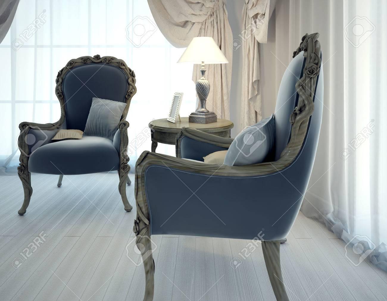 Deux fauteuils de couleur bleu marine en cuir. chaises crinière à la main  dans le salon style art déco. 3D render