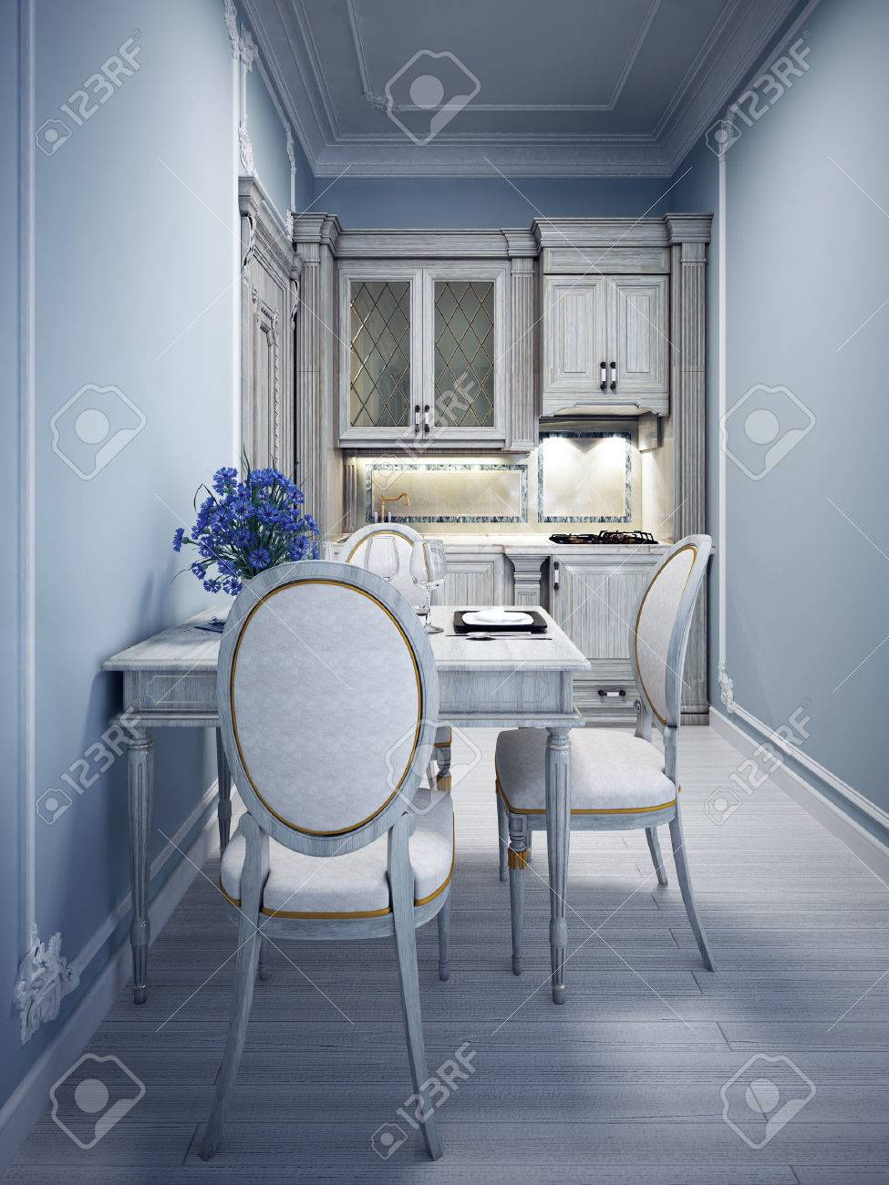 Blue Tiny Kitchen With Classic White Furniture. 3D Render Stock ...