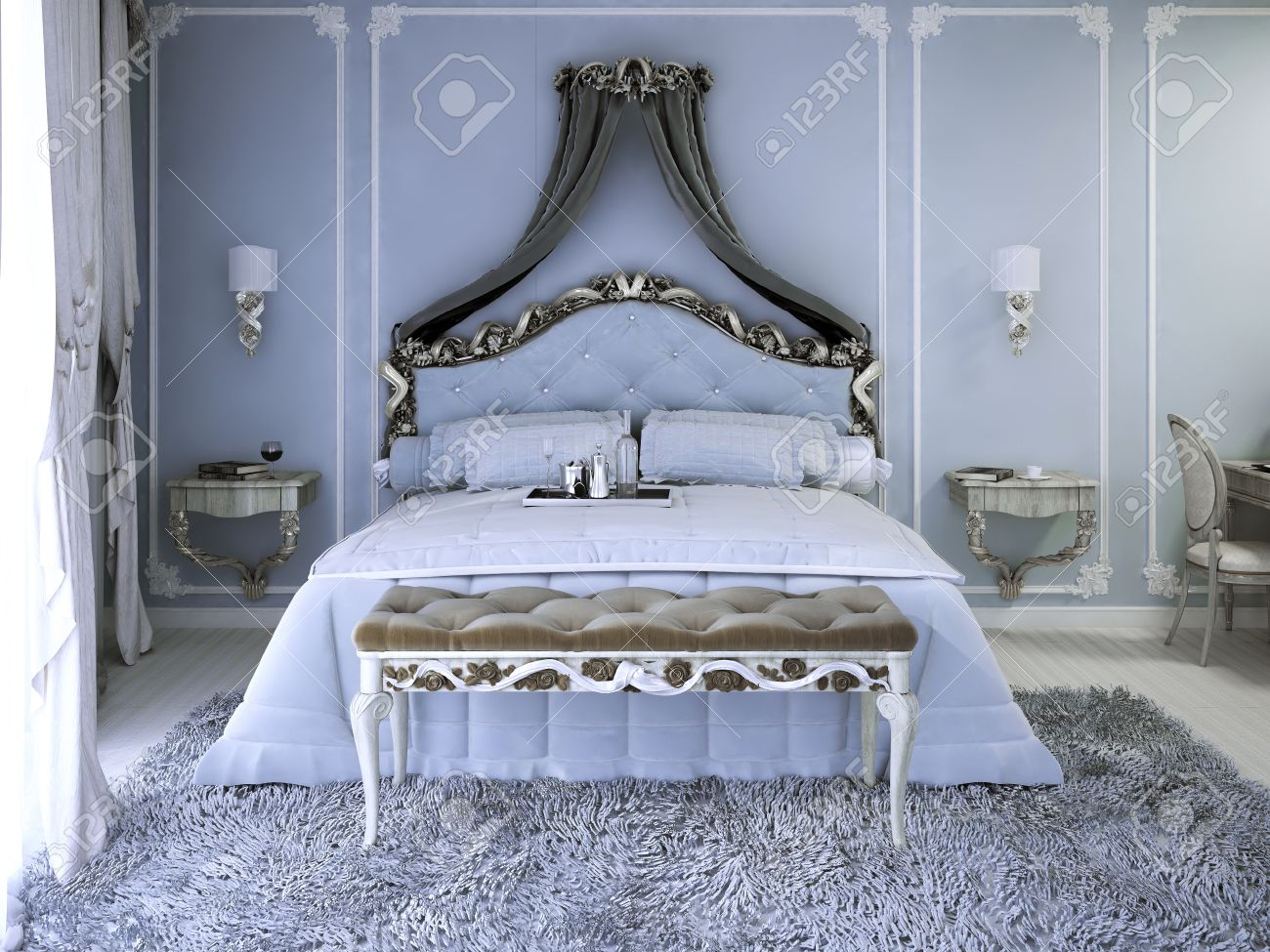 Lit Double Avec Rideau De Luxe Vue Royale Chambre Avec Des Murs Bleu Pâle Cochez Moquette Grise Et Sellerie Banc Avec Carcas En Bois Blanc 3d Render