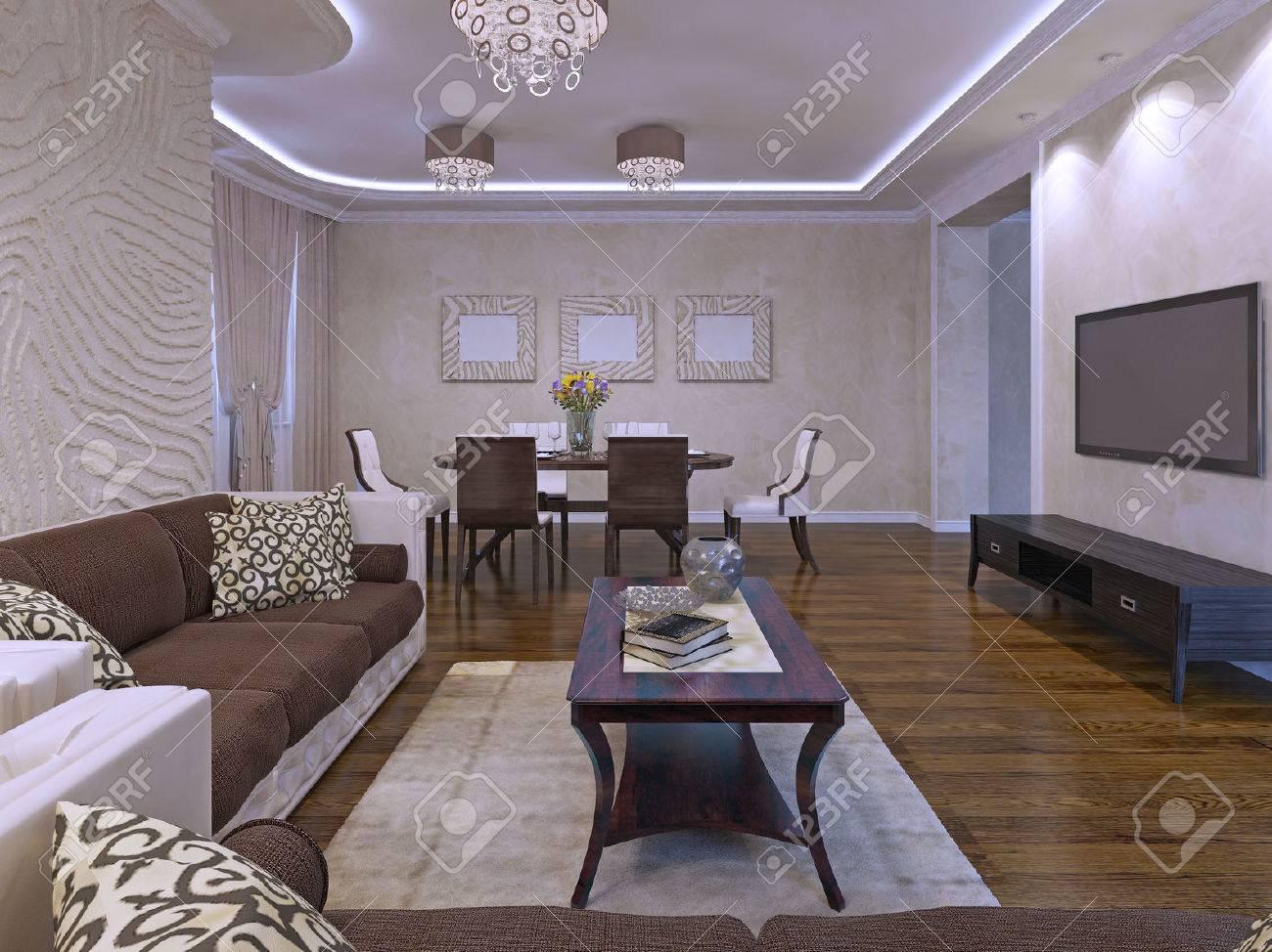 Elegante lounge kamer design in crème en bruine kleuren
