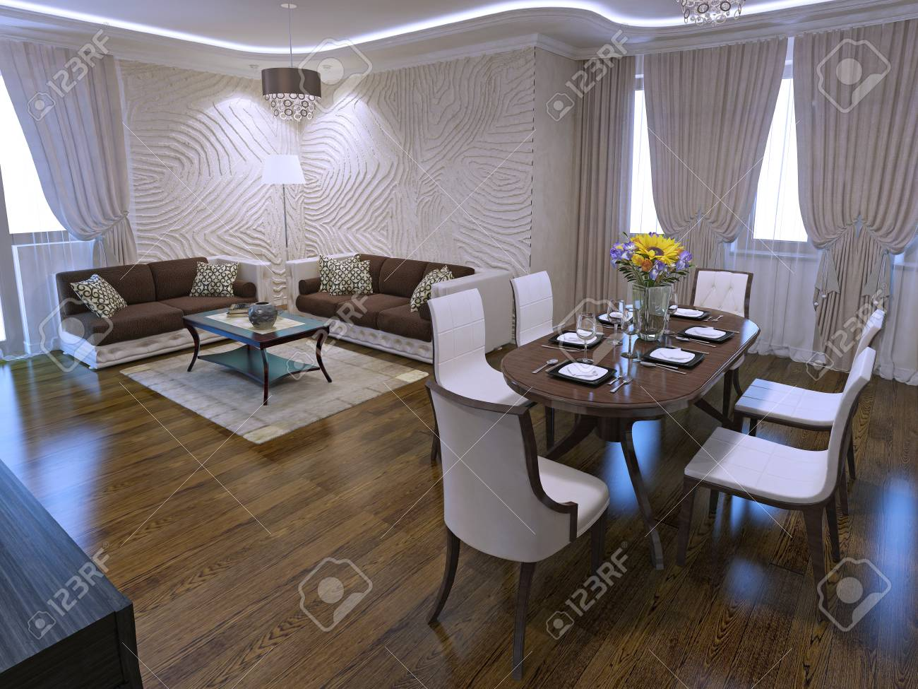 Lounge with dining table in art deco design with included light