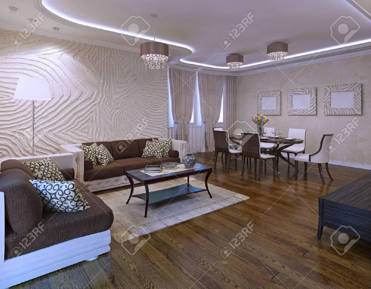 Idee Der Avantgarde Wohnzimmer Mit Ikea Möbel Set. 3D übertragen  Standard Bild