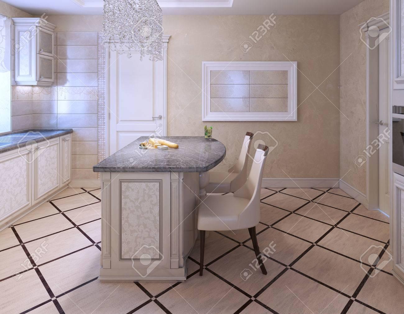 Küche Mit Insel-Bar In Avantgardistischen Stil. Weiß Und Creame ...