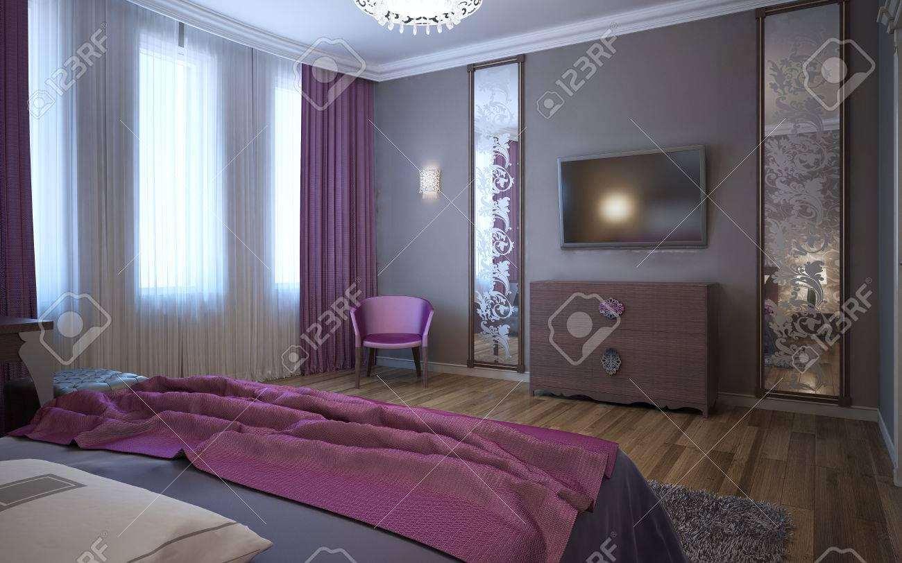 Kontrast Der Dunklen Rosa Und Grau Im Innenraum Des Fusions Schlafzimmer 3d Ubertragen Lizenzfreie Fotos Bilder Und Stock Fotografie Image 50514930