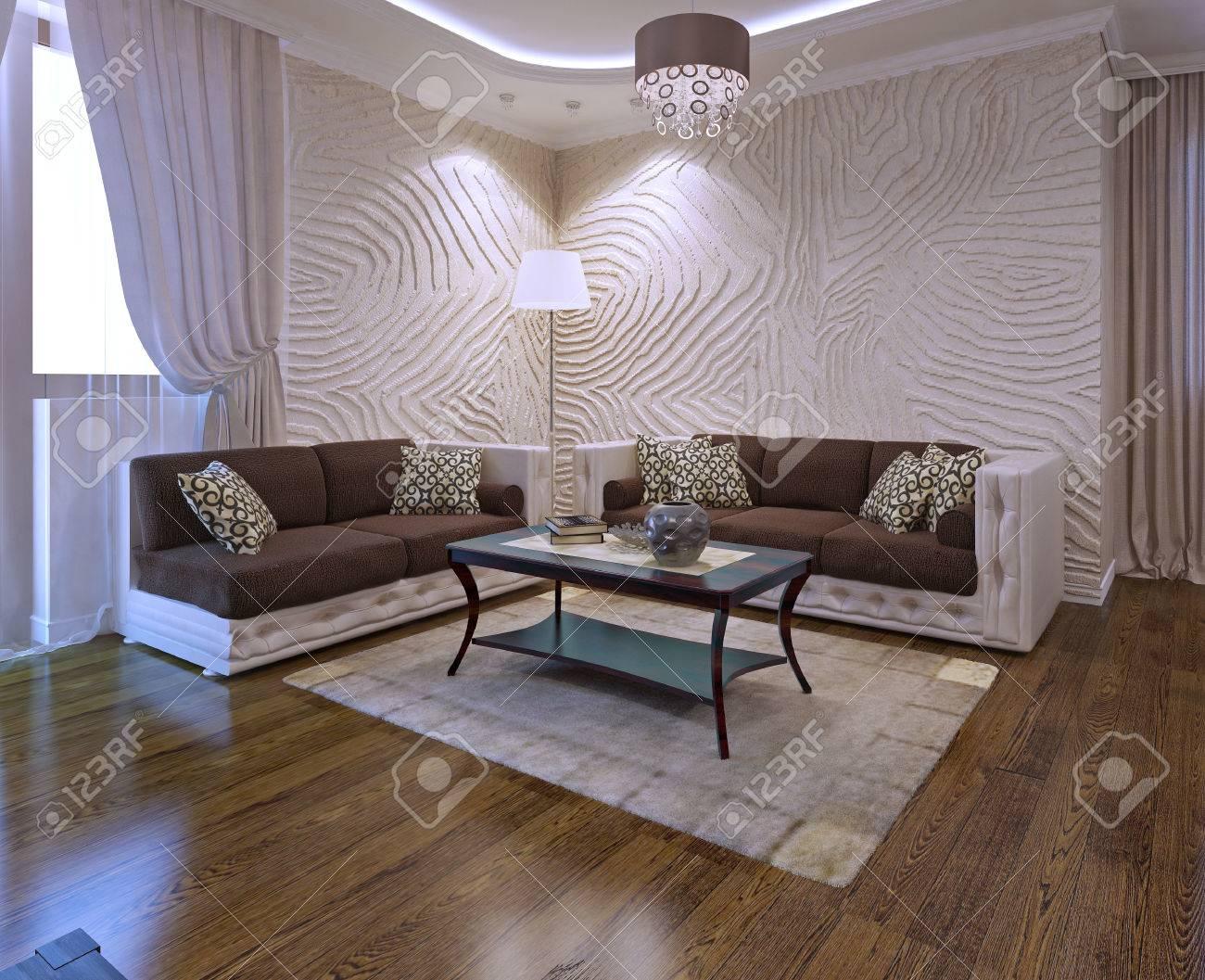 Woonkamer ideeën met lederen sofa in art deco stijl. 3d render