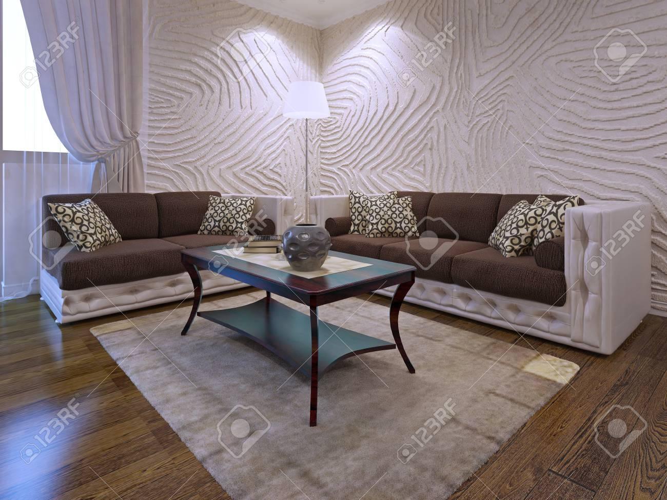 Elegantes Wohnzimmer Möbel Set. Zwei Braune Sofas Mit Lederteilen. Mahagoni  Holztisch. 3d