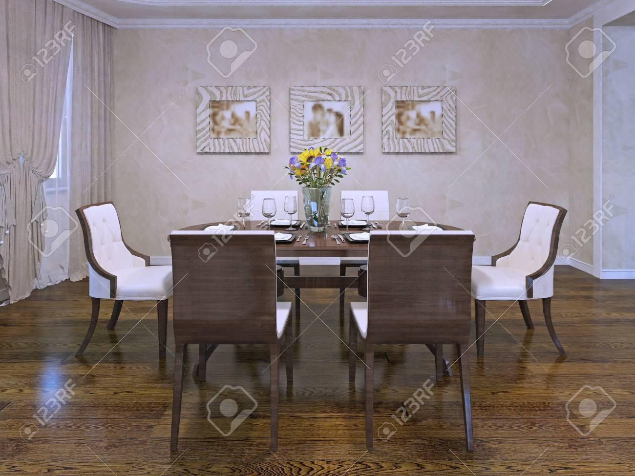 Design Of Esszimmer In Privathaus. Schöne Weiße Stühle Mit Holz ...