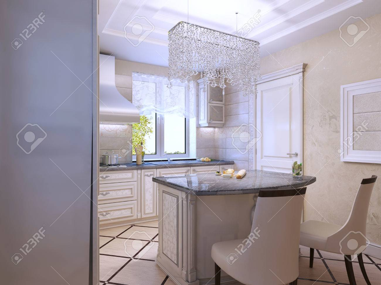 Diseño de interiores de una cocina moderna de lujo. Encimera brillante de  la barra. Procesamiento 3D