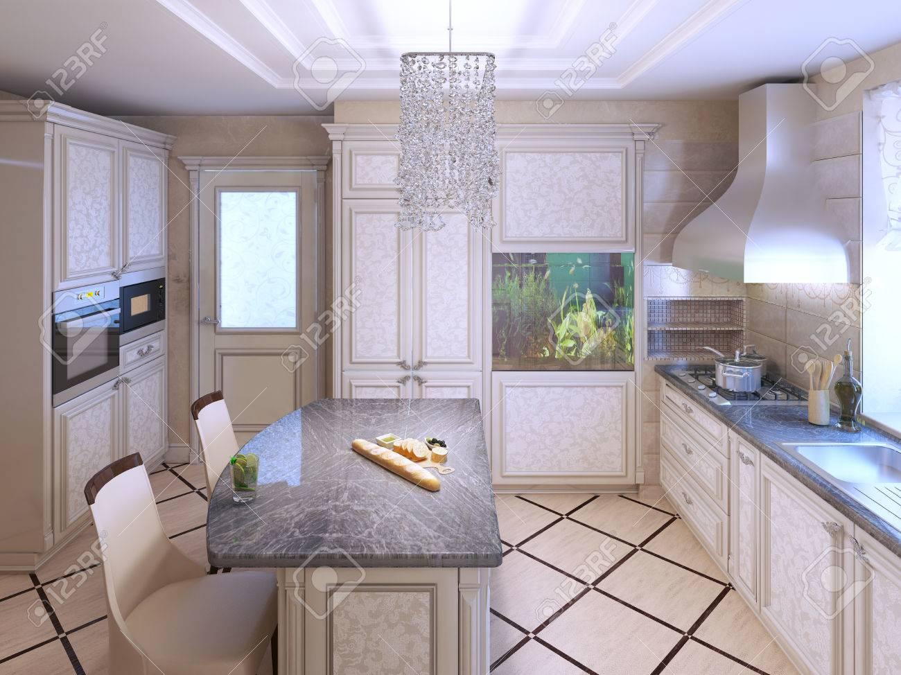 Art-Deco-Küche Mit Lackierten Möbeln. Polierte Dunklen Steinplatten ...