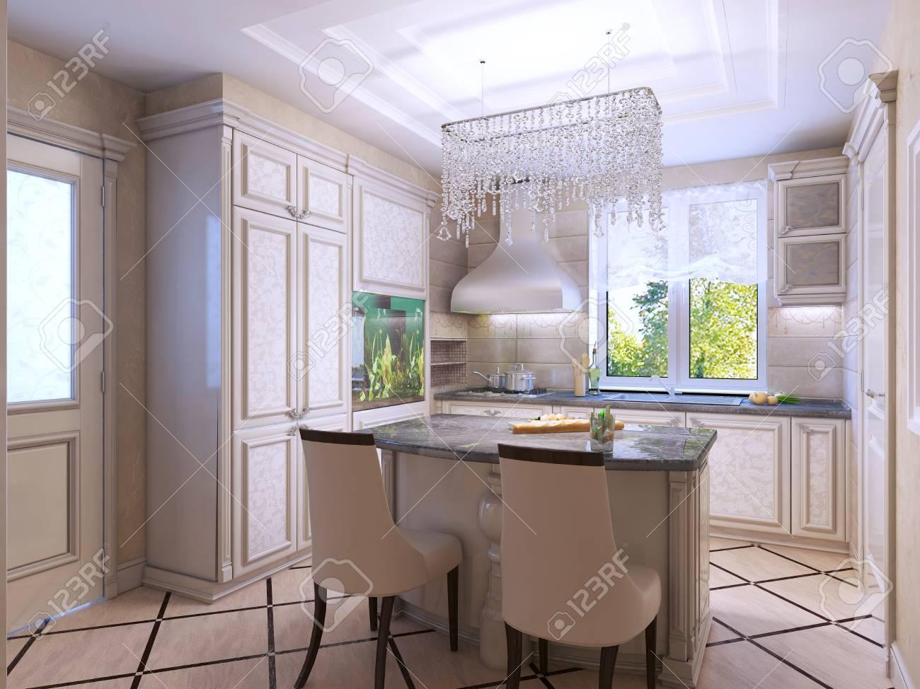 Schöne Küche Art-Deco-Stil. Frontal Gemusterten Schränke, Dunkle ...