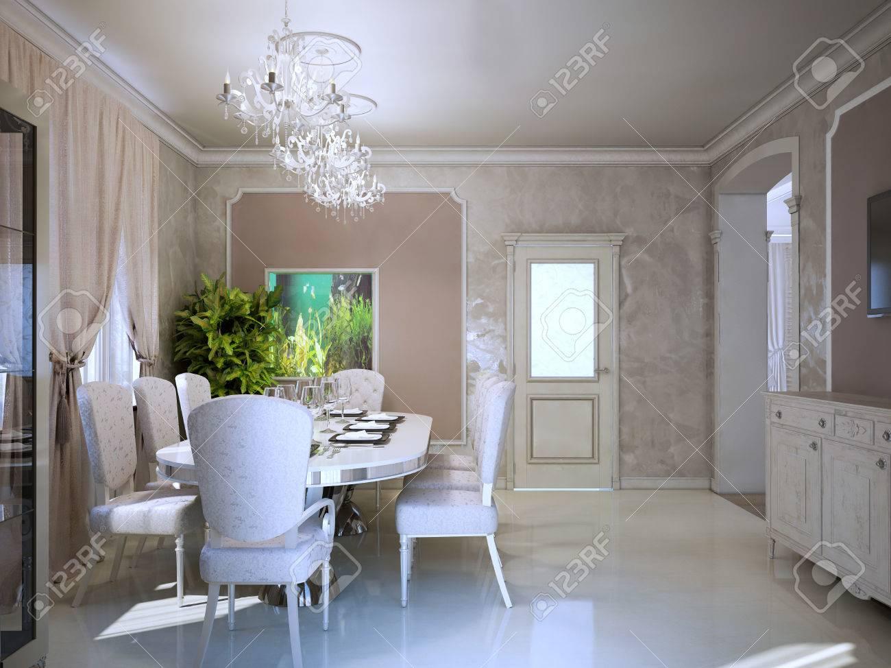 Bright interior of modern living room in retro style art deco