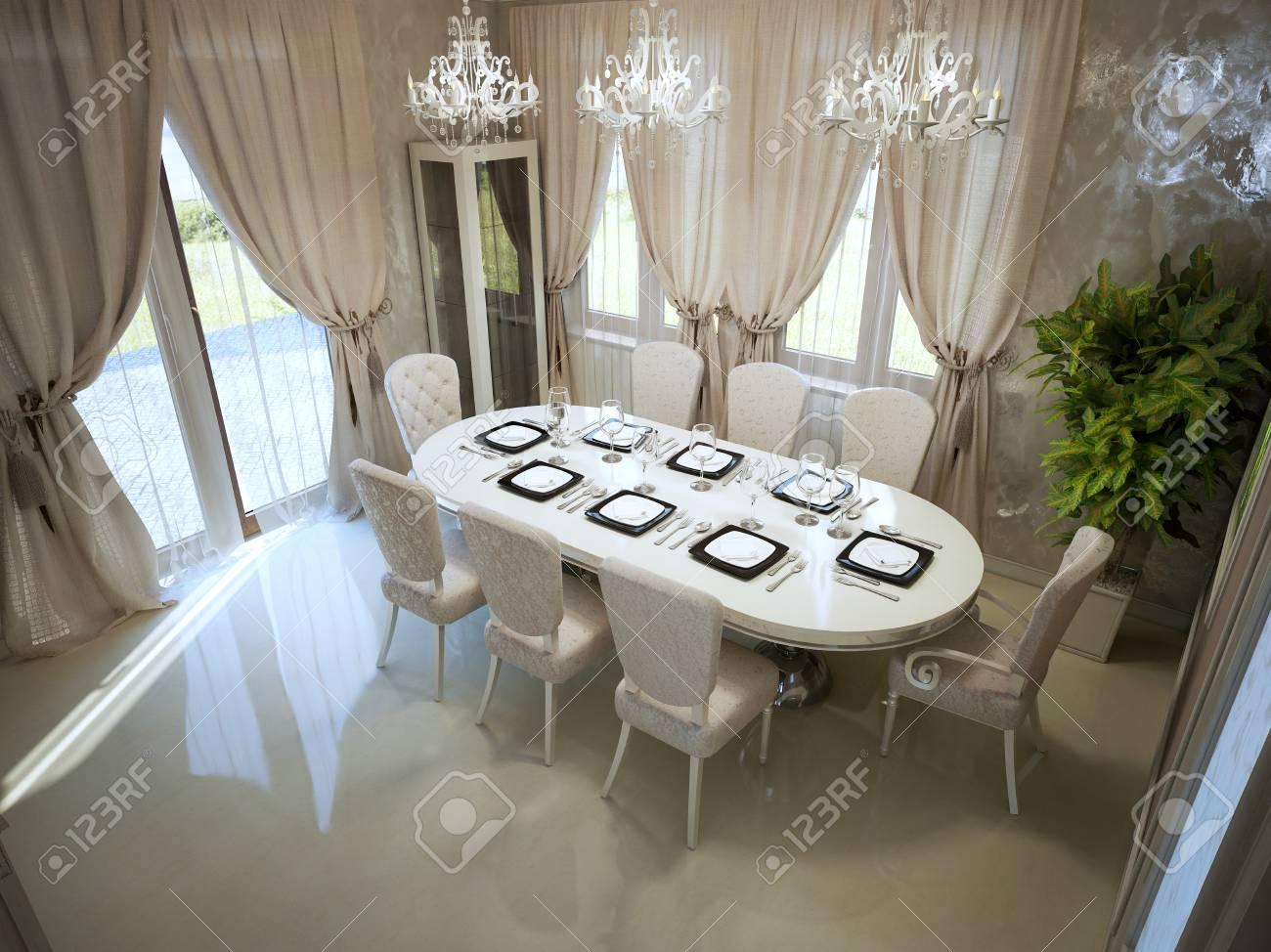 Mesa de comedor grande en la habitación spacy estilo moderno tendencia.  Muebles blancos, cortinas color crema, vista panorámica. Render 3D