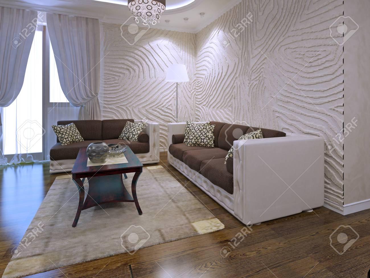 Innenraum der art deco lounge mit welligen wänden d übertragen