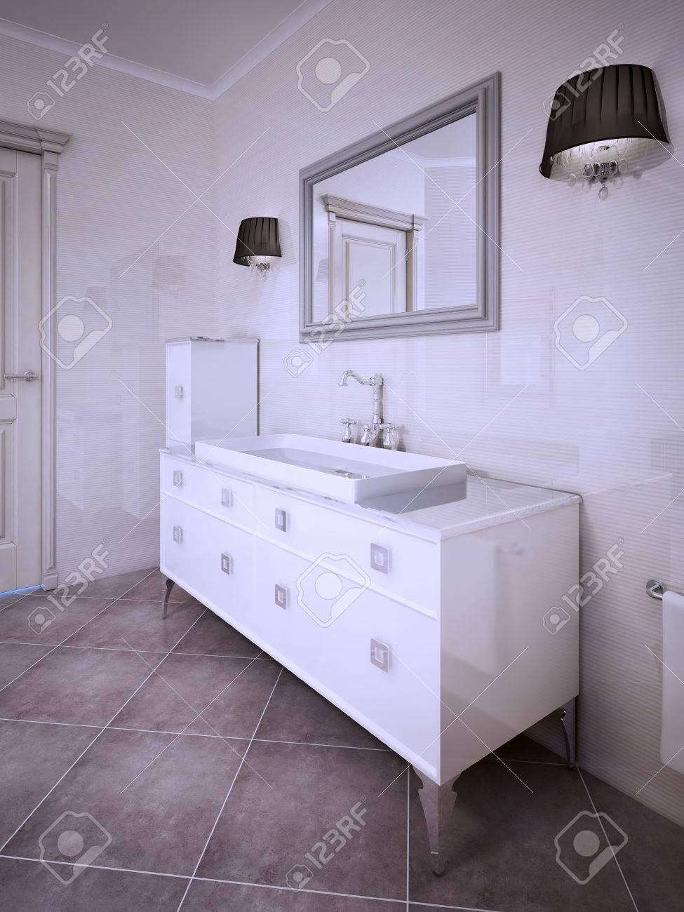 Inspiration Für Elegantes Badezimmer. 3D übertragen Lizenzfreie ...