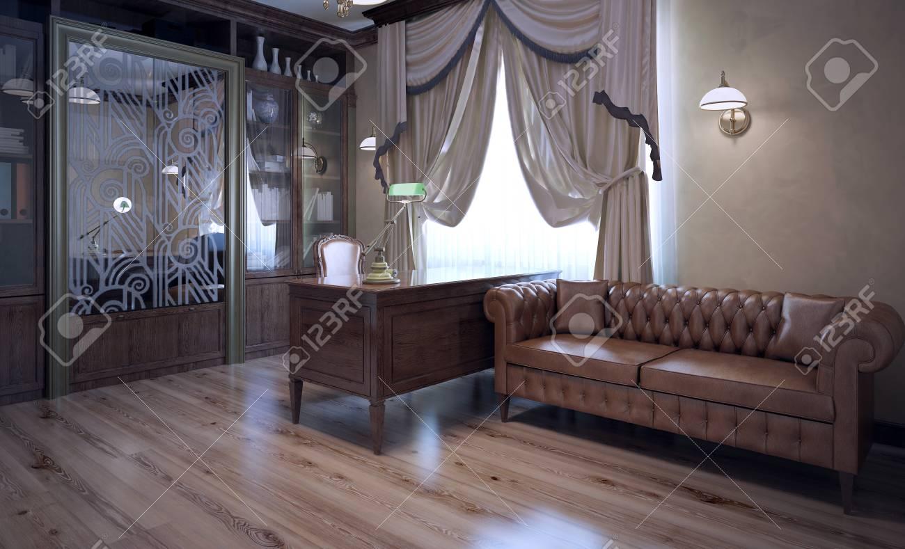 Boss office in modern style. Brown color in interior. Dark brown..