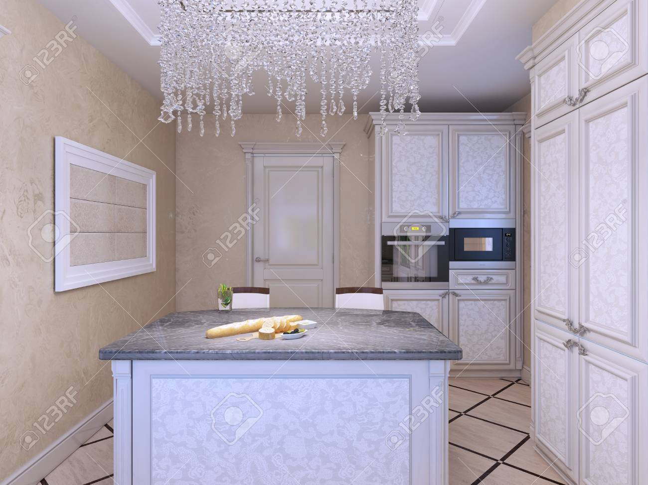 Art-Deco-Küche Mit Insel-Bar Gestylt. 3D übertragen Lizenzfreie ...