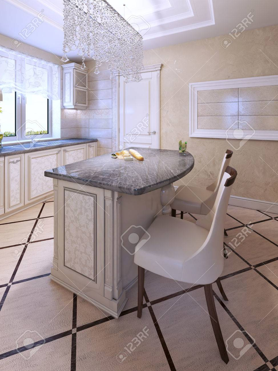 Bar Stühle Von Art-Deco-Kücheninsel. Stoff Stuhl Mit Dunkelbraunen ...
