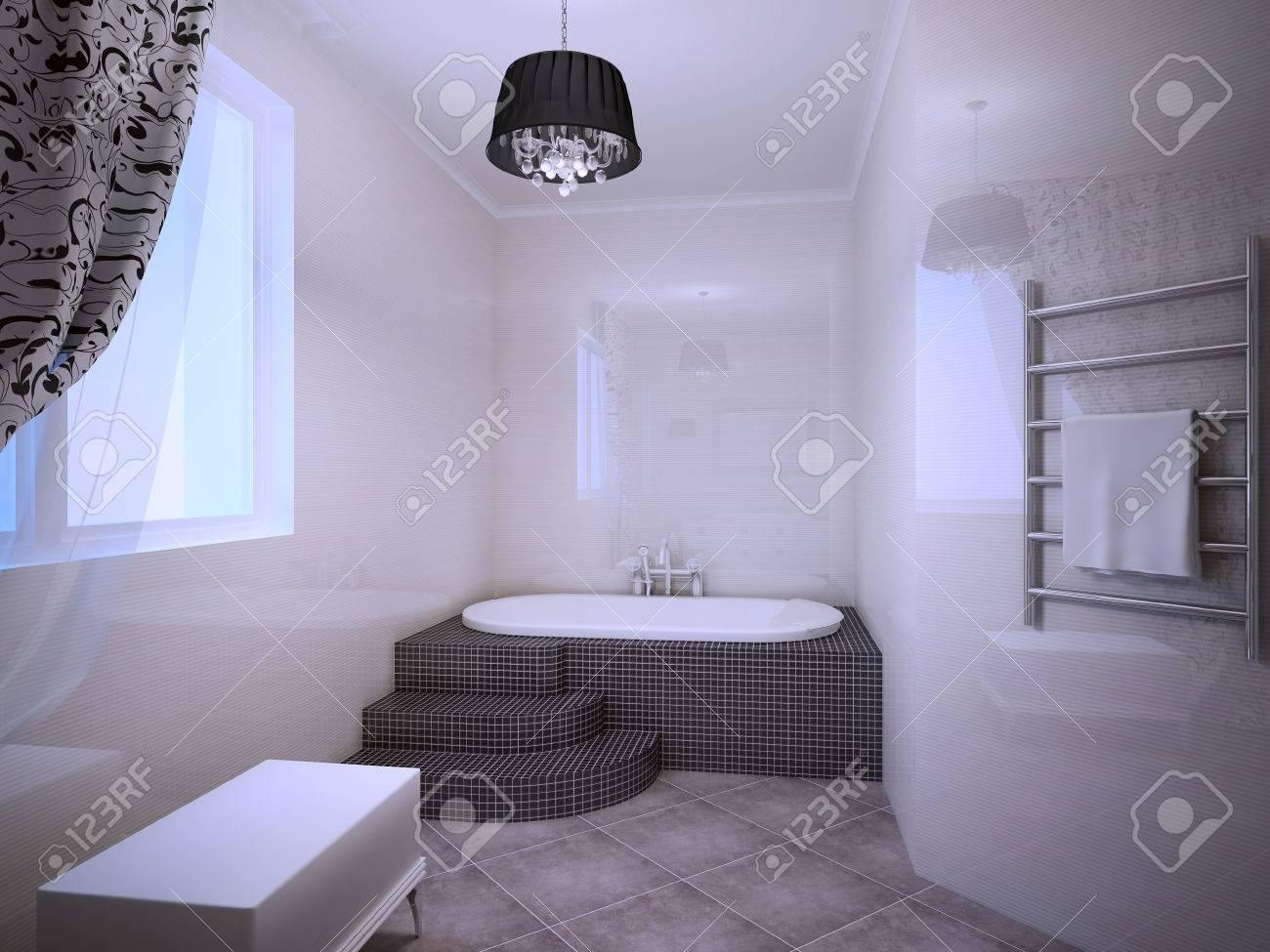 Banque Du0027images   Belle Salle De Bains Avec Jacuzzi Dans Le Style Art Déco.  Abricot Clair Murs Colorés. 3D Render