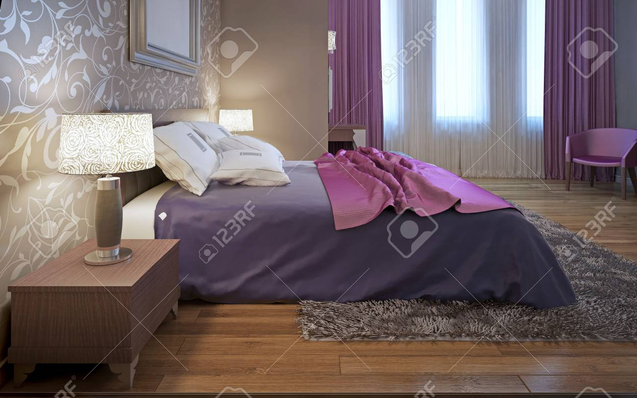 Master bedroom in avantgarde style. Purple and pink color in interior. Wool gray carpet