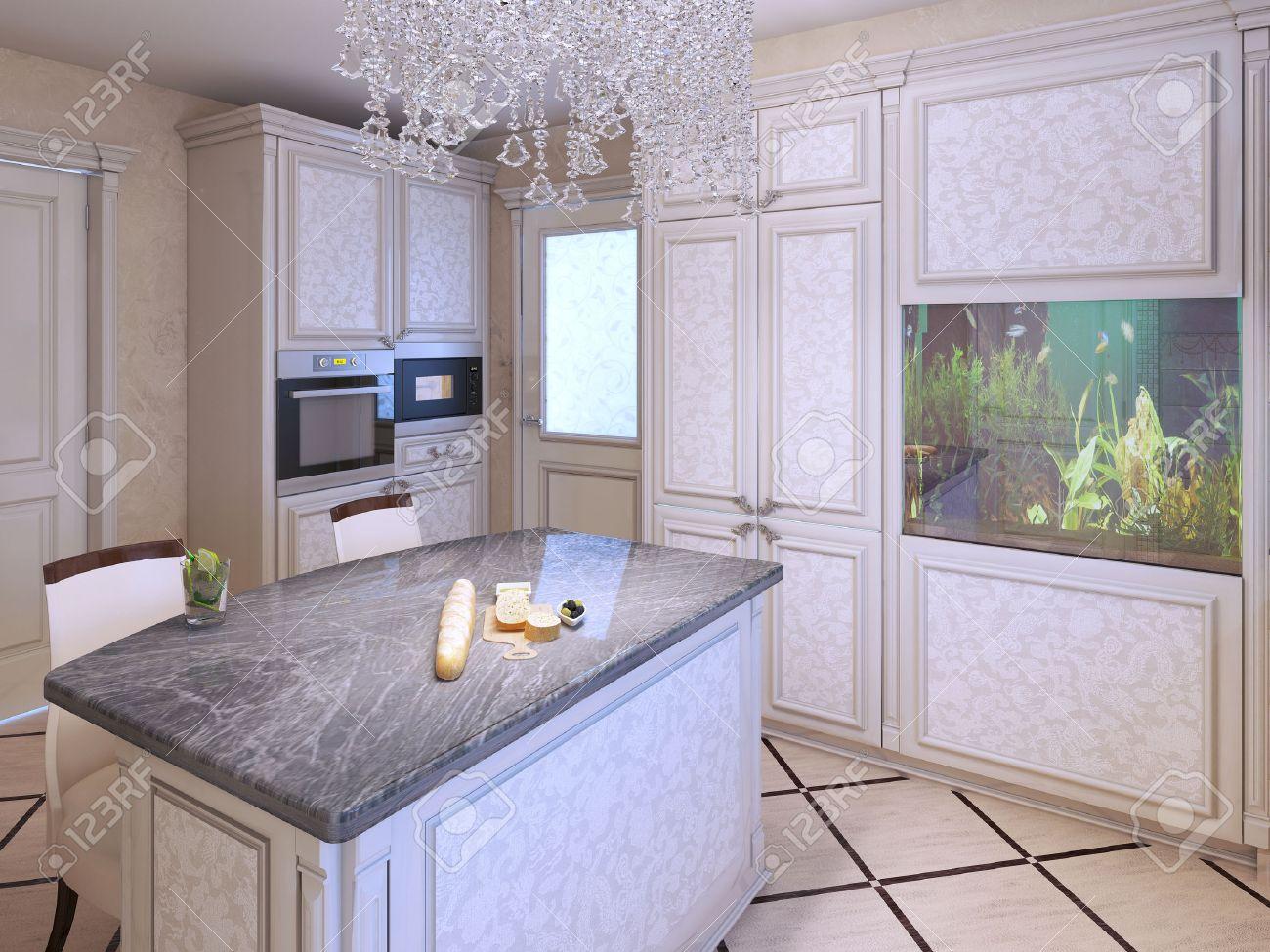 Bright Expensive Kitchen Design Island Bar With Granite Countertop Crystal Lamp And Aquarium