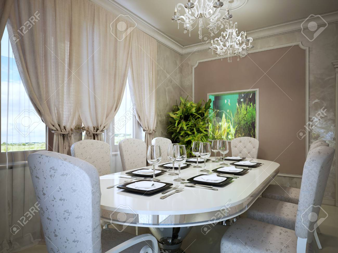 Belle salle à manger avec haut-aquarium mural. couleurs beige clair à  l\'intérieur. 3D render