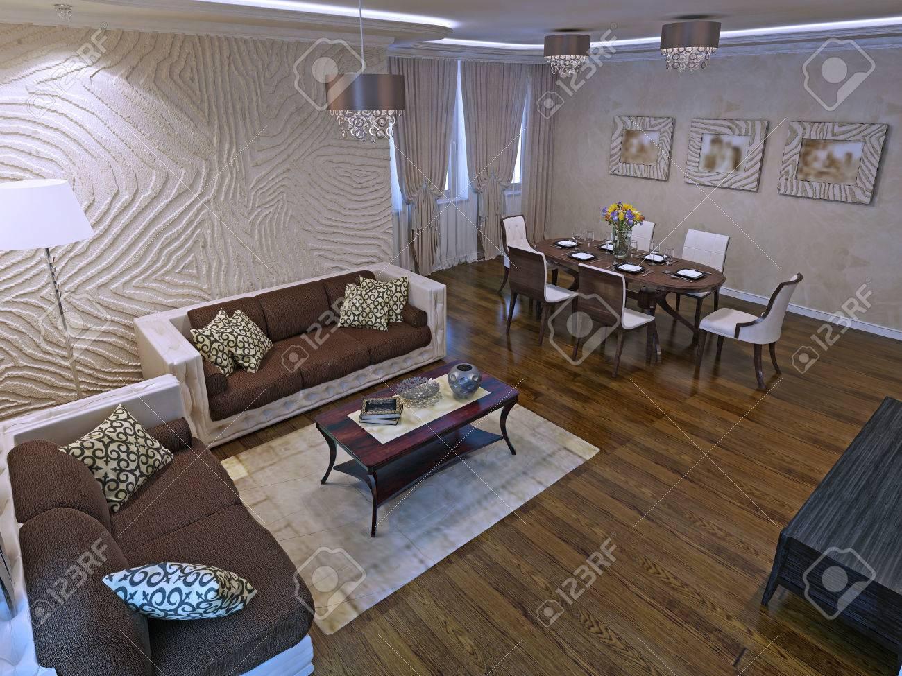 Luxury Studio Apartments In Modern Design. Beautiful Leather.. Stock ...