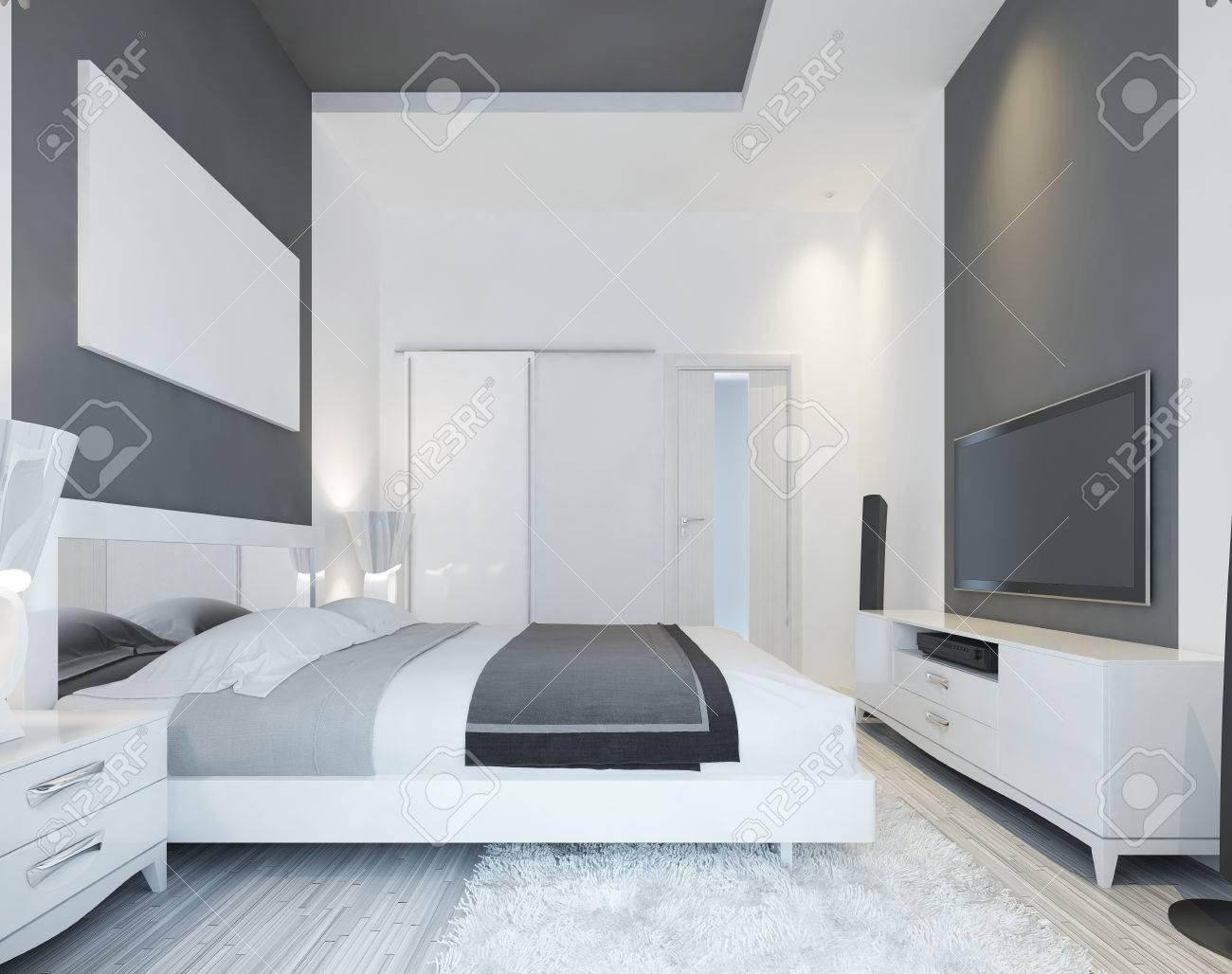 Luxus Schlafzimmer Mit Einem Bett In Einem Modernen Stil Aus Weichem,  Grauen Und Weißen