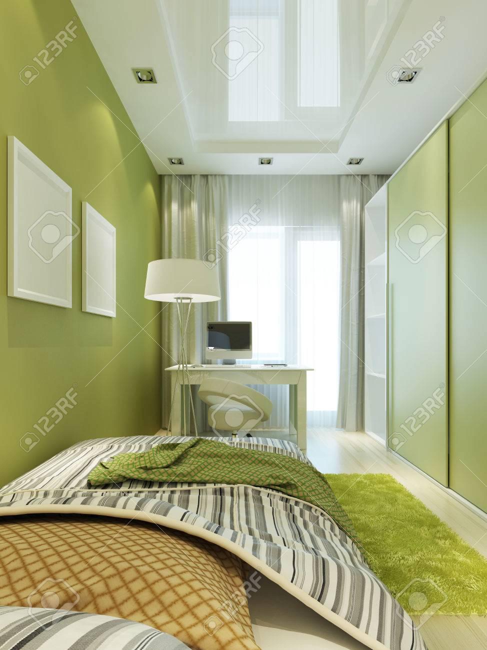 Perfekt Kinderzimmer Für Den Jungen In Den Hellgrünen Und Weißen Farben Mit  Modellplakat Auf Der Wand.